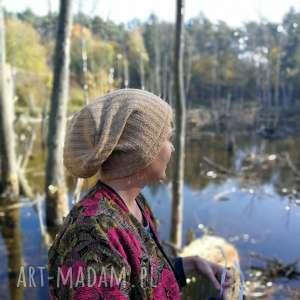 czapka zimowa wełniana unisex bezowa, wełna, etno, boho, męska,