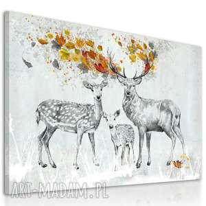 obraz na płótnie - 120x80cm pejzaż jelenie jesienią 02275 wysyłka w 24h