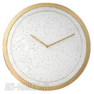 Zegar betonowy mini groove biały drewniana rama złoty 40cm