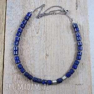 Naszyjnik z lapis lazuli satynowymi walcami, naszyjnik, srebro, lapis,