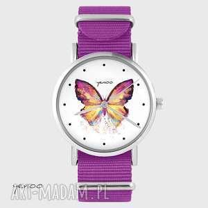 zegarki zegarek - motyl amarant, nato, zegarek, bransoletka, nylonowy