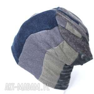 czapka damska patchworkowa - czapka, wełna, patchwork, zima, narty, prezent