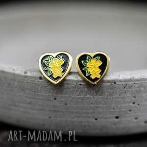 ♥Kim Jewelry♥ Vintage kolczyki z lat 70. - ,serce,wkrętki,vintage,usa,retro,mosiądz,