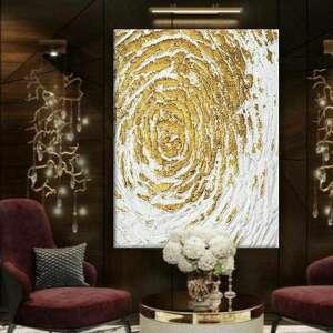 golden flakes - wielkoformatowy obraz na płótnie abstrakcyjny