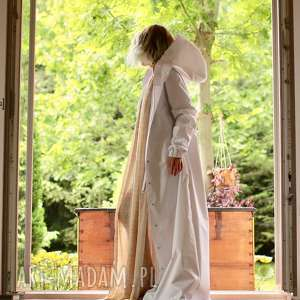 płaszcze płaszcz przeciwdeszczowy biały, długi, przeciwdeszczowy, na wymiar