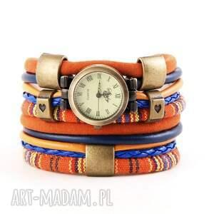 megi mikos zegarek-bransoletka w stylu boho, pomarańczowo-niebieski, zegarek
