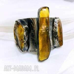 duża bransoleta z bursztynami bałtyckimi srebro925, bransoletka, srebro925
