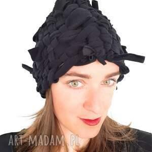 czapka tkana no 35, polar, czarny ciepła czapka, lekka czarna