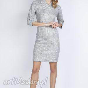 wyjątkowy prezent, sukienka, suk133 szary, dzianinowa, groszki, grochy, szara