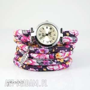 Prezent Zegarek, bransoletka - Kwiaty różowe, fioletowe owijany, zegarek