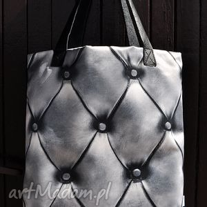 torba mr m queen srebrna skóra naturalna - wygodna, pojemna, skóra, naturalna