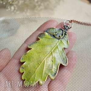Liść dębu - wisior z prawdziwym liściem w miedzi naszyjniki