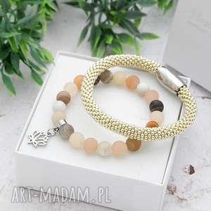 zestaw bransoletek elegance set - kamień księżycowy, piękne bransoletki, modna