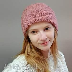 oryginalny prezent, the wool art różowa czapka, na drutach, ciepła