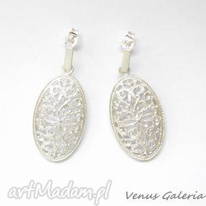 Kolczyki srebrne - Ażurowa rozeta, bizuteria, srebro, kolczyki