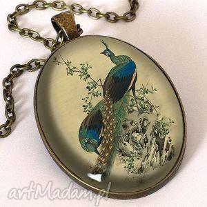 hand-made naszyjniki pawie - owalny medalion z łańcuszkiem