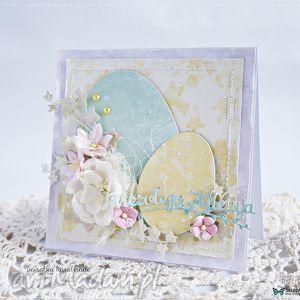 Kartka z pisankami - ,kartka,wielkanocna,wielkanoc,delikatna,pisanki,romantyczna,
