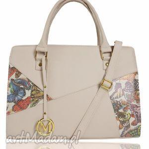 handmade torebki sztywna torebka - klasyczny kuferek łatka pastelowy róż motyle