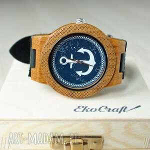 oryginalne prezenty, ekocraft drewniany zegarek kotwica