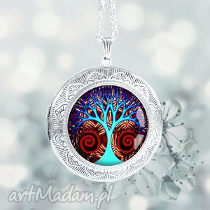 magiczne drzewo - wyjątkowy otwierany medalion - srebrny, posrebrzany, duży