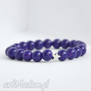 bransoletki bracelet by sis srebrna gwiazdka w granatowych koralach, gwiazda, korale