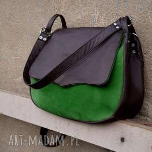 Gruba BARONOWA brąz/zieleń a4, torba, damska, kobieca, laptop, zieleń, zamsz