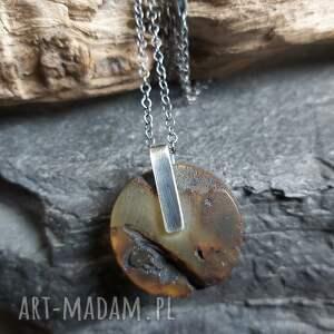 hand-made naszyjniki minimalistyczny naszyjnik ze srebra i surowego bursztynu