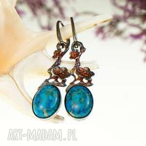 niebo w kwiatach - kolczyki srebrne z jaspisem a534, srebrne, niebieskie ze