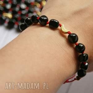 ochronna bransoletka - czarny turmalin, lunula, amulet, ochronna