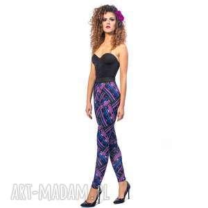 legginsy z drukiem - violet mix, kratka, wygodne, oryginalne