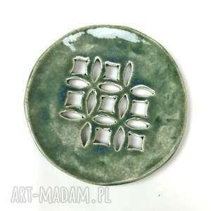 """Ceramiczna mydelniczka ręcznie robiona """"zielona rozeta"""" ceramika"""