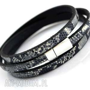 hand-made bransoletka magnetoos triple black white grey