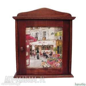 wieszaki paryska kawiarenka - szafka na klucze, klucz, prezent, skrzyneczka, schowek