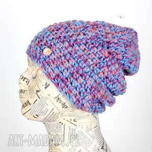 065 czapka beanie kolorowa ciepła na szydełku, ciepła czapka, na prezent