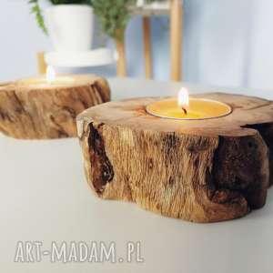 zestaw 2 świeczniki drewno - ,świeczniki,drewno,eko,skandynawskie,
