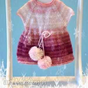 sukienka dla lalki ok 40 cm delikatna jak puszek, sukienka, lalka, miś, waldorfska