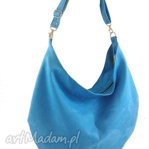 sack turquoise, torebka, worek, hobo, zamsz torebki