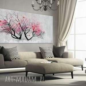 obraz drukowany na płotnie z kolorowym kwitnącym drzewem, drzewo kwiatami