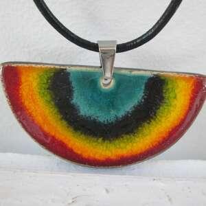 naszyjnik tęczowe półkole - ceramiczny, naszyjnik, wisiorek, kolorowy, z
