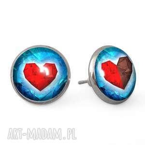 serca - kolczyki sztyfty - wkrętki, romantyczne serce