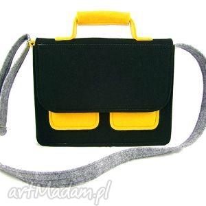 Mess gray-black-yellow - ,torebka,listonoszka,filc,