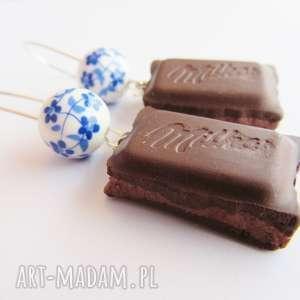 kolczyki - czekoladki z nadzieniem, kolczyki, modelina, masa, fimo, czekolada