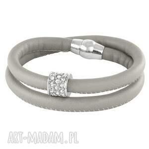 grey eco leather with zircons bead , rzemień, cyrkonie