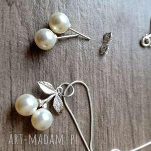 komplet z perłami swarovskiego kolczyki i wisienkowa zawieszka, srebrny