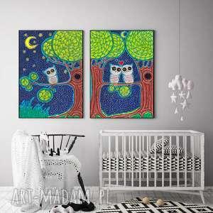 Zestaw 2 prac A3, obraz, ilustracja, sowa, sówka, dziecko, plakat