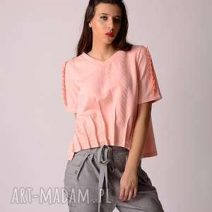 Pikowana bluza z plisami i marszczeniem bluzy non tess łososiowy