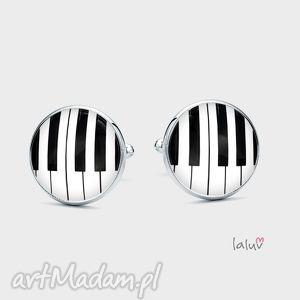 spinki do mankietów piano - klawisze, muzyczne, muzyk, instrument, pianino, fortepian