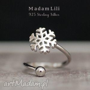 925 srebrny pierścionek płatek śniegu - 925, srebro, śnieg, płatek