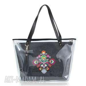 torebki torebka delise 2w1 2313 folk ciemna, delise, pojemna, ręcznie
