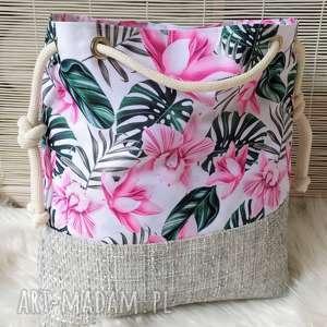 na ramię torba worek storczyki, torba, torebka, damska, worek, plażowa